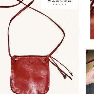 Vintage Carven Paris red leather crossbody bag